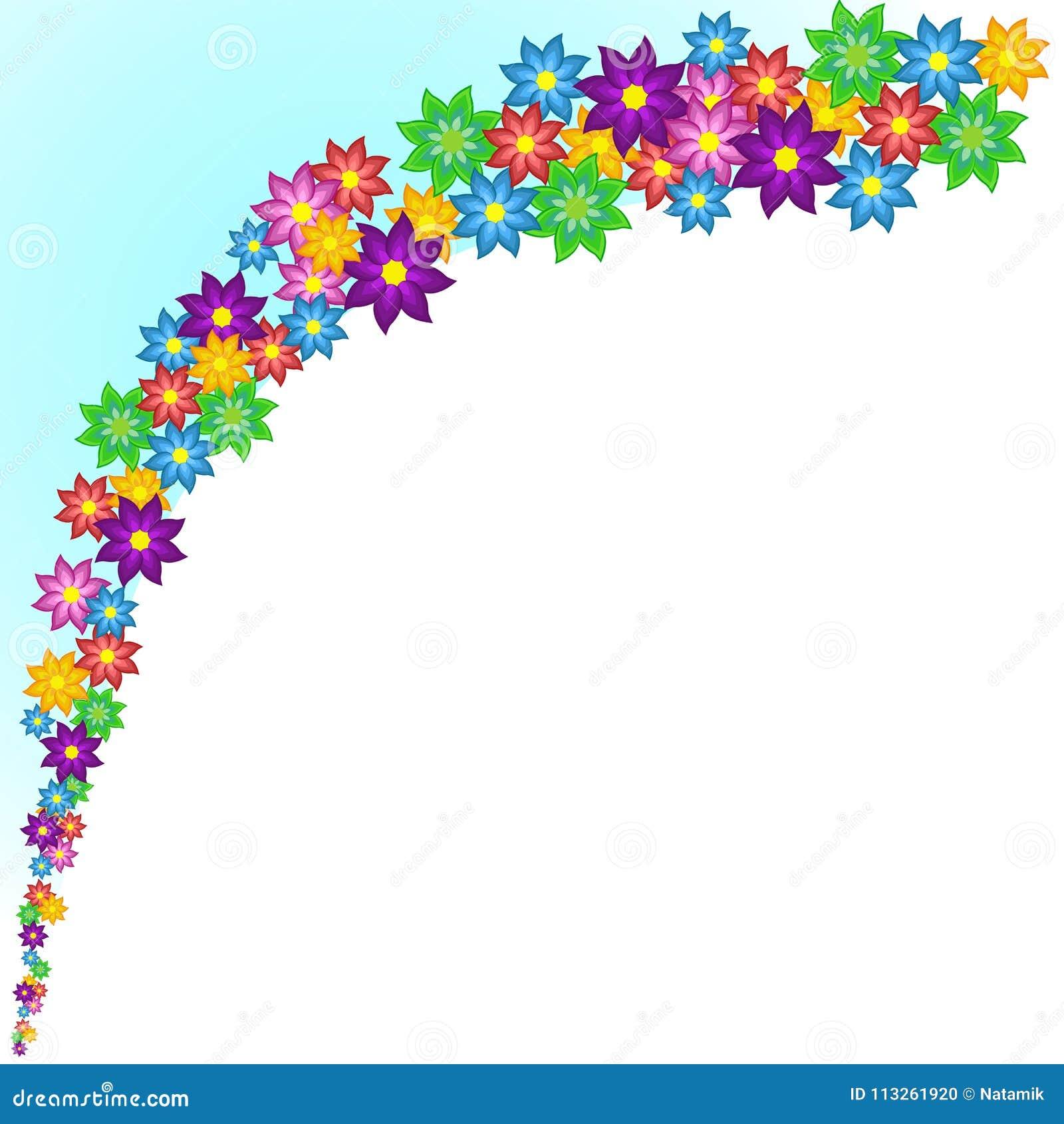 Onda de flores estilizados coloridas brilhantes