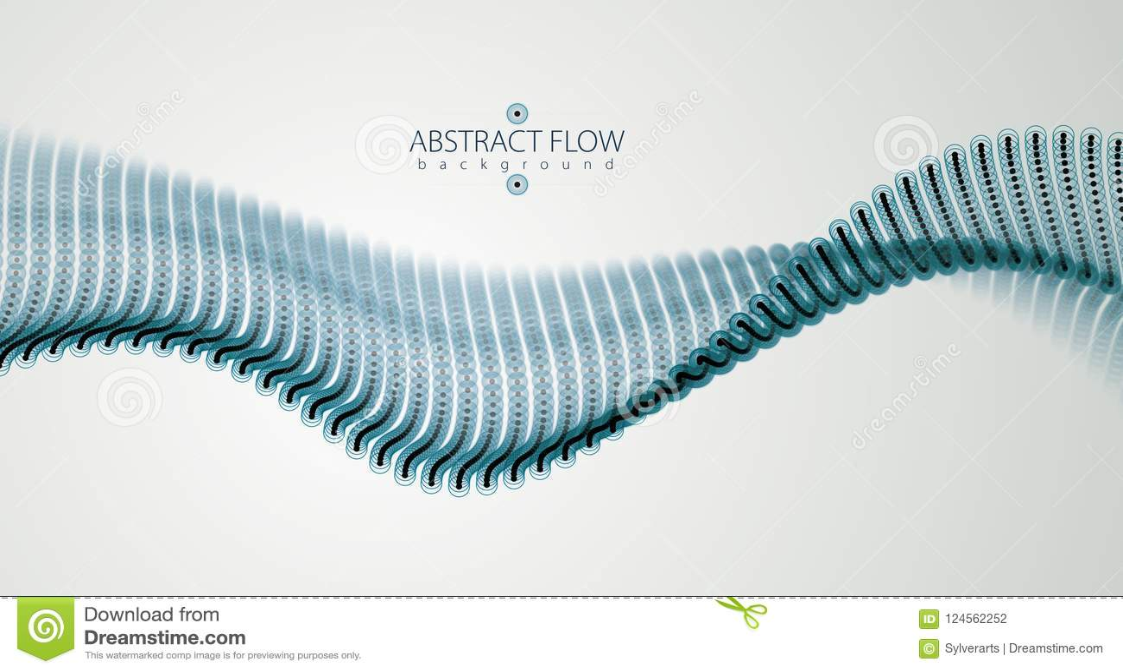 Onda de fluxo das partículas, movimento sadio dinâmico illustra do vetor 3d