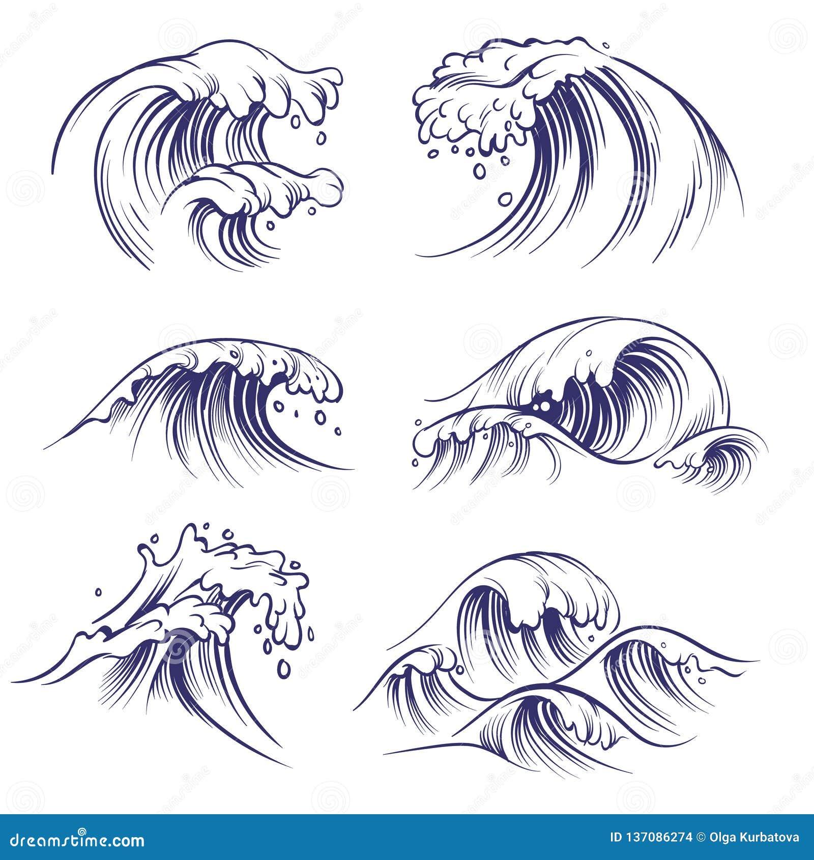Onda del bosquejo Chapoteo de las ondas del mar del océano Colección dibujada mano del vector del garabato del agua del viento de