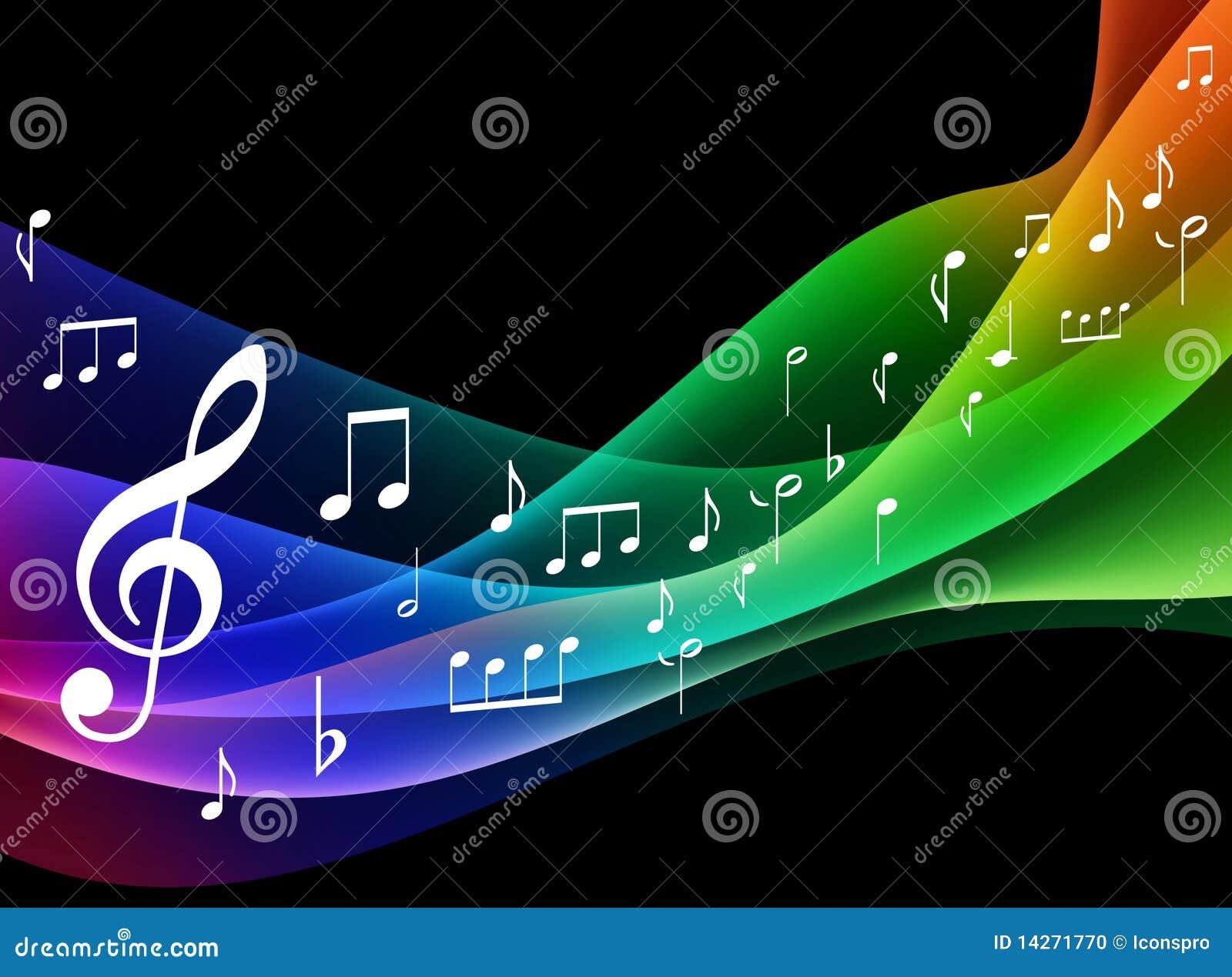 Onda Del Espectro De Color Con Las Notas Musicales Stock De