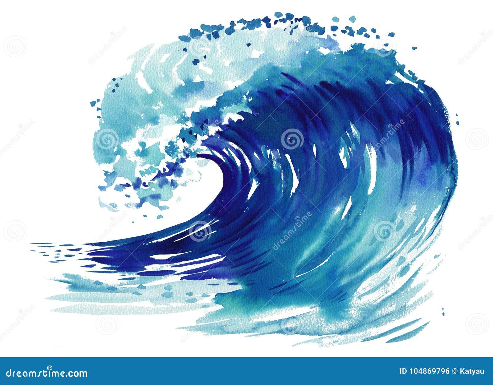 Onda del mar Ejemplo dibujado mano abstracta de la acuarela, aislado en el fondo blanco