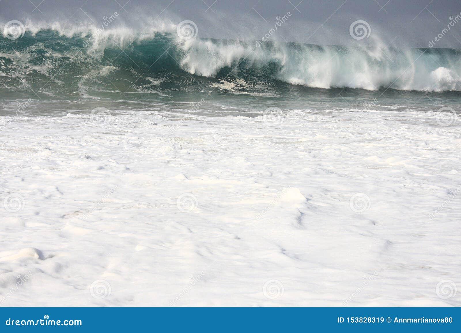 Onda del mar del primer con la espuma y los descensos blancos
