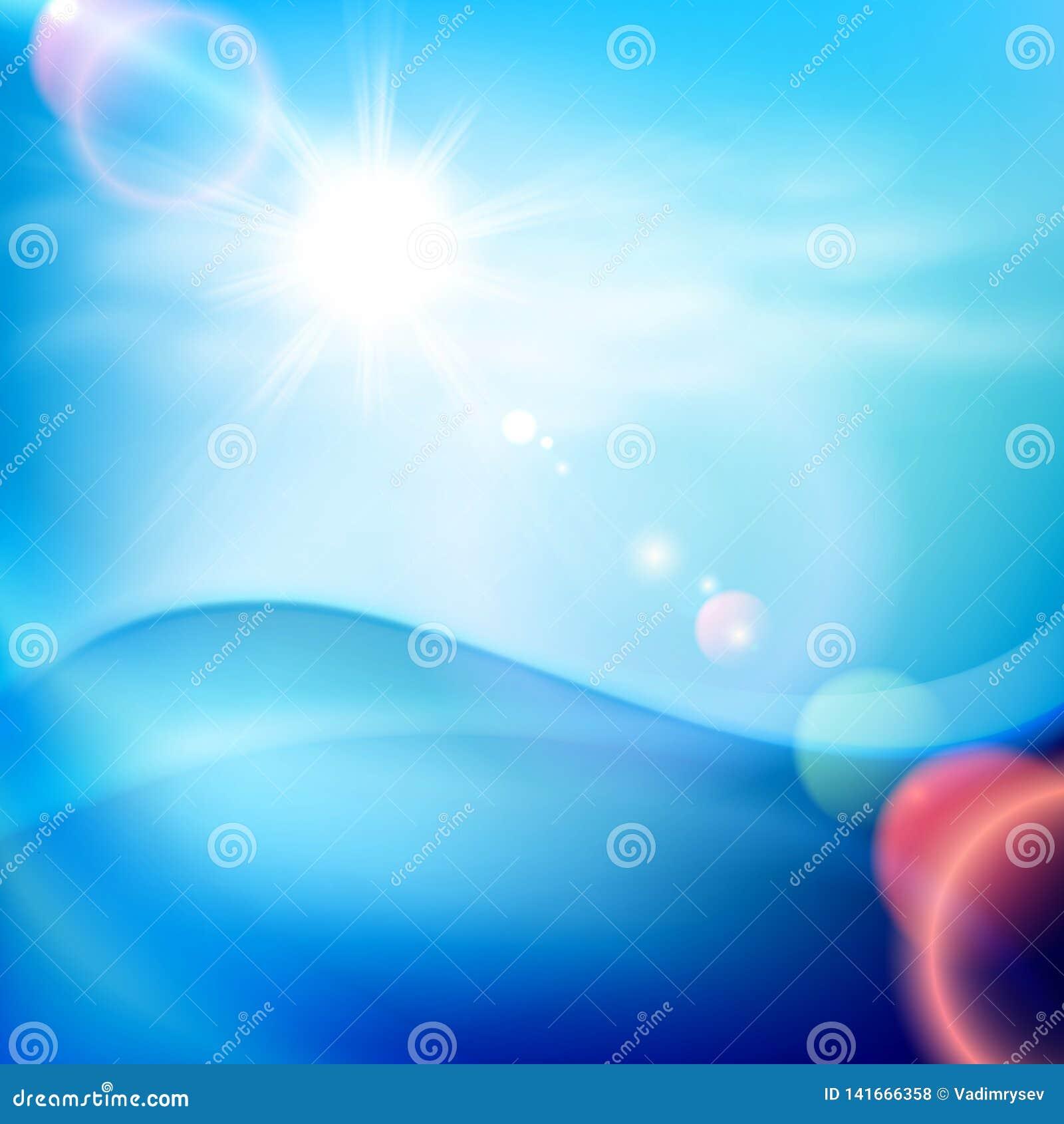 Onda di acqua nel giorno soleggiato Priorità bassa per una scheda dell invito o una congratulazione