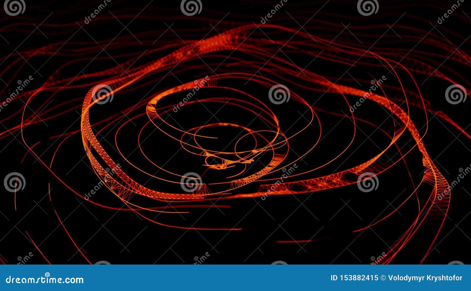Onda dinâmica abstrata dos pontos e das linhas Rede das partículas brilhantes conectadas por linhas Dados grandes rendi??o 3d