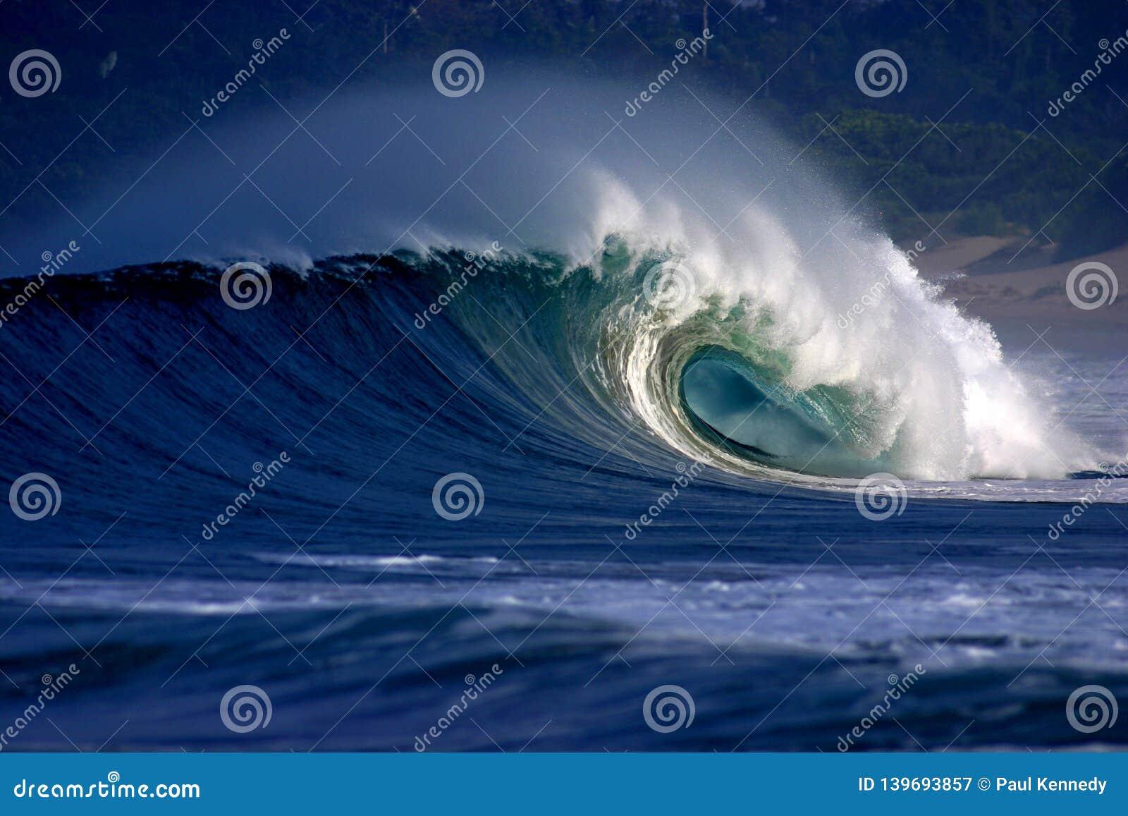Onda praticante il surfing tubolare che si rompe sulla spiaggia tropicale