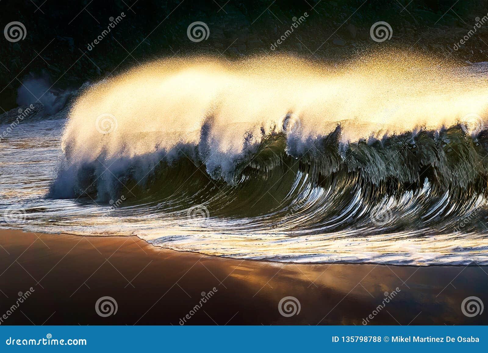 Onda sola che si rompe alla spiaggia