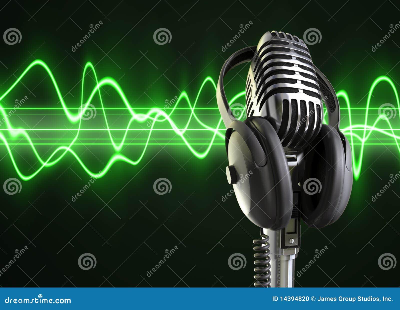 Ondas & microfone do áudio