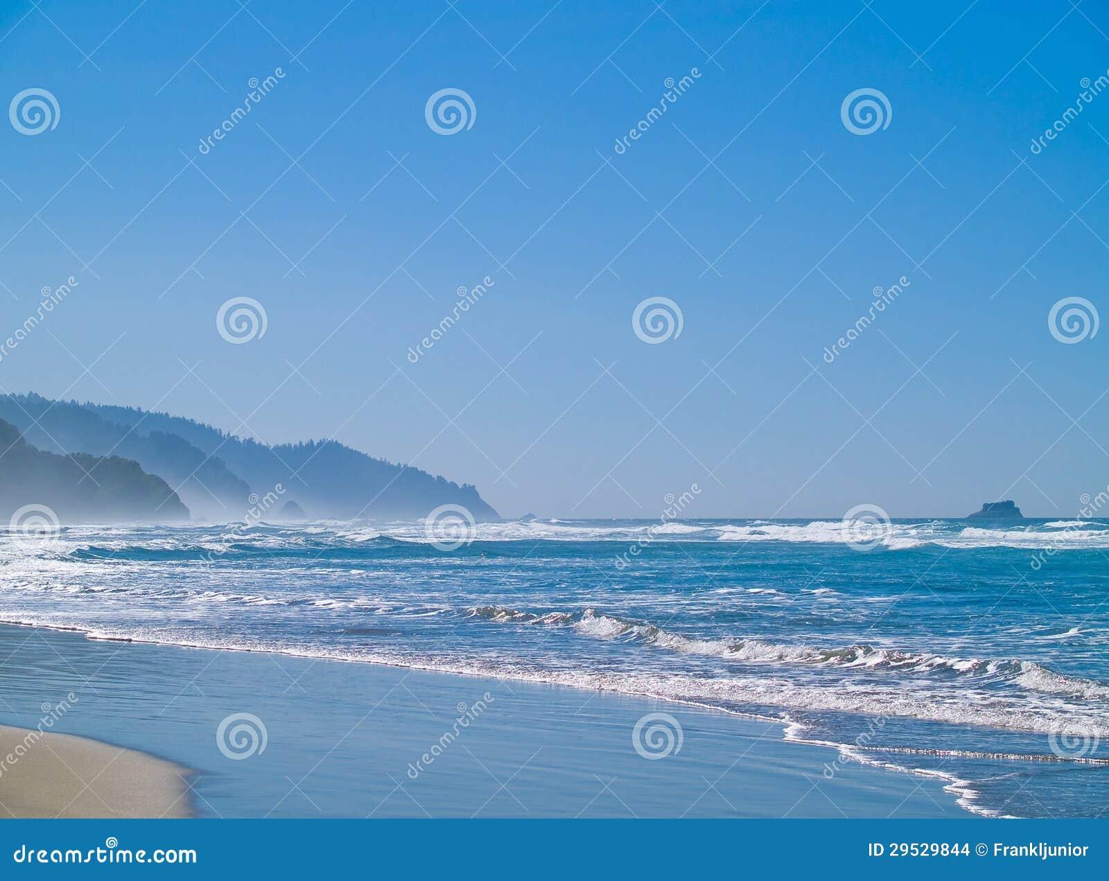 Ondas de oceano na costa