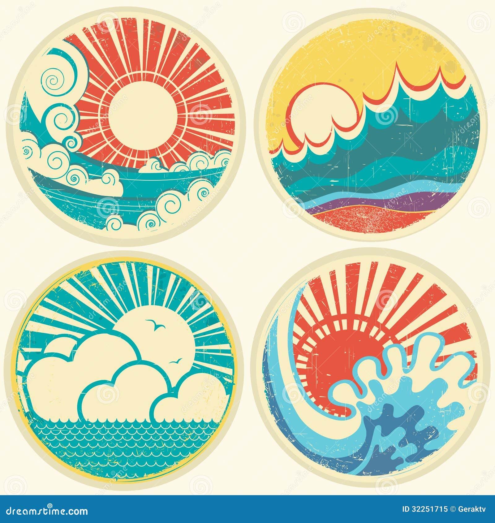 Ondas del sol y del mar del vintage. Iconos del vector del illust