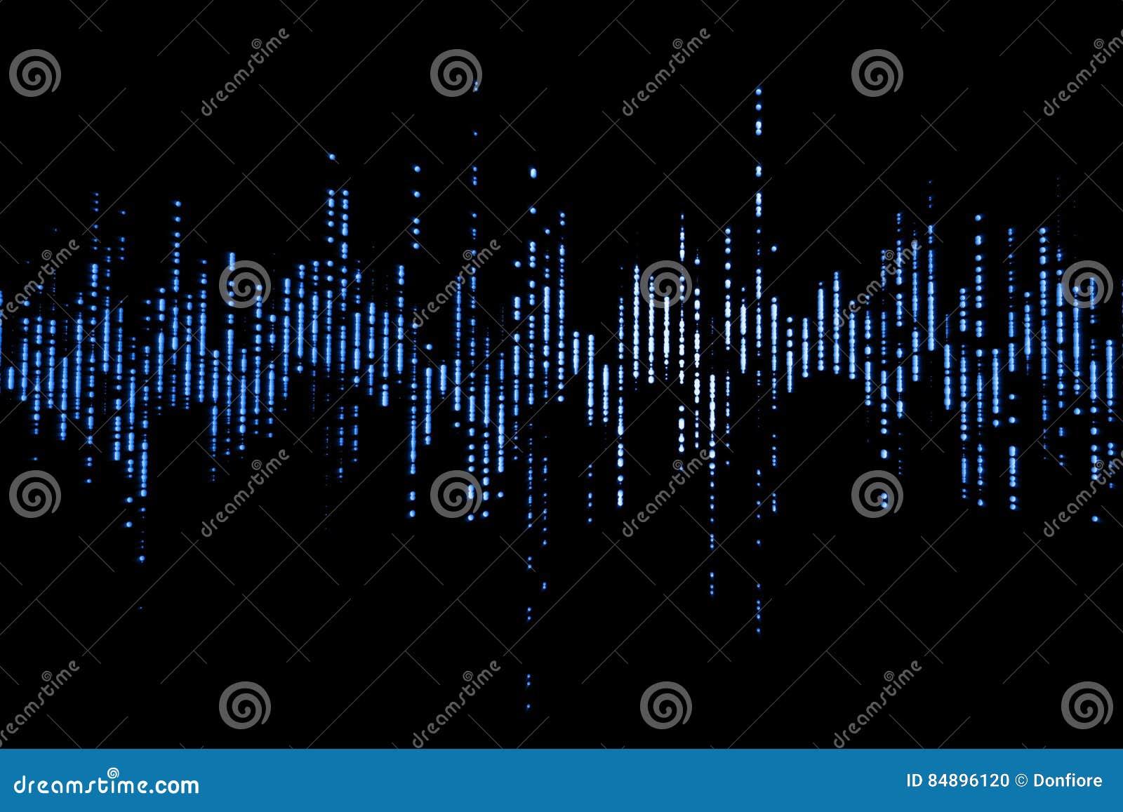 Ondas sadias audio do equalizador digital azul no fundo preto, sinal do efeito de som estéreo