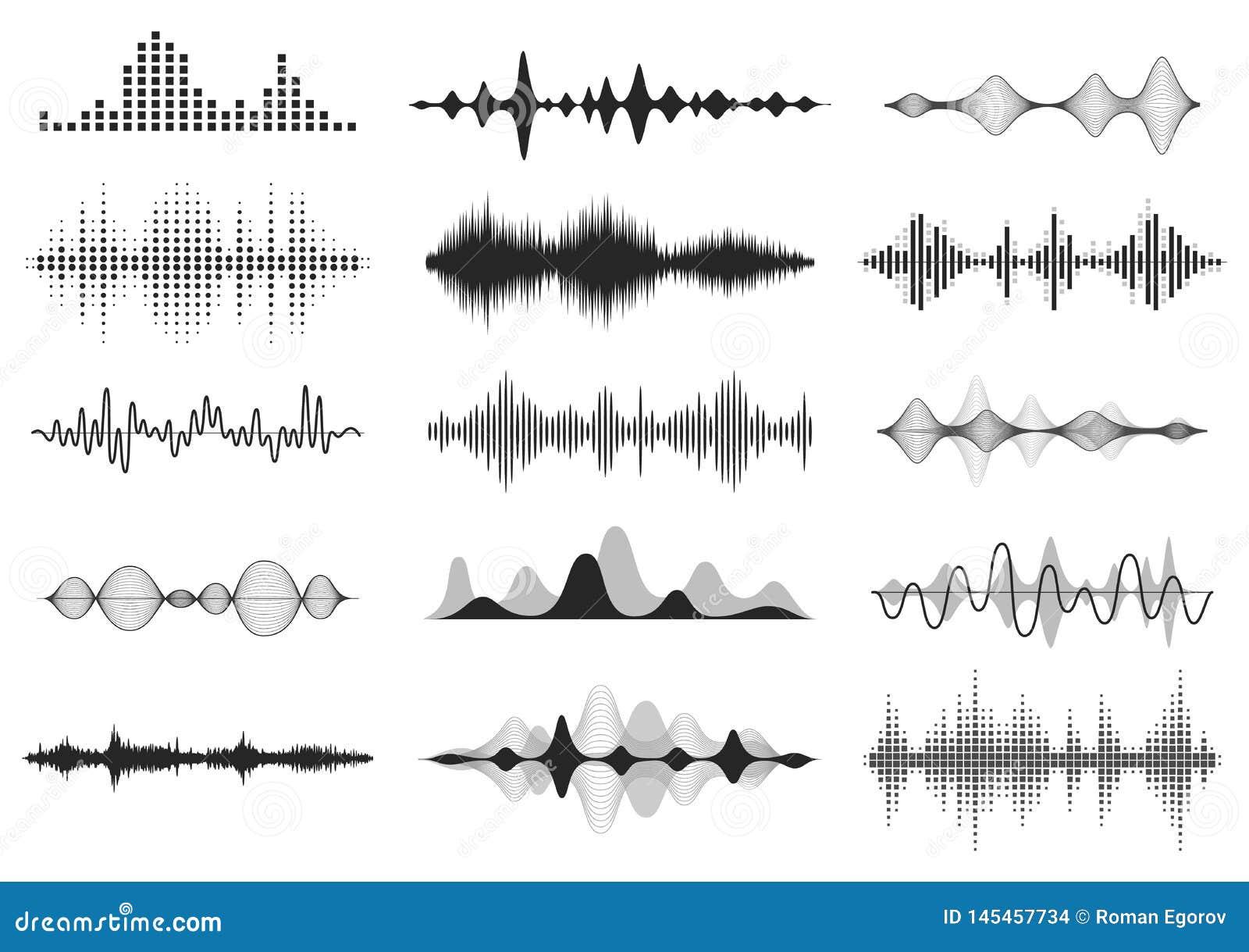 Ondas sadias pretas Frequ?ncia audio da m?sica, linha forma de onda da voz, sinal de r?dio eletr?nico, s?mbolo do n?vel do volume