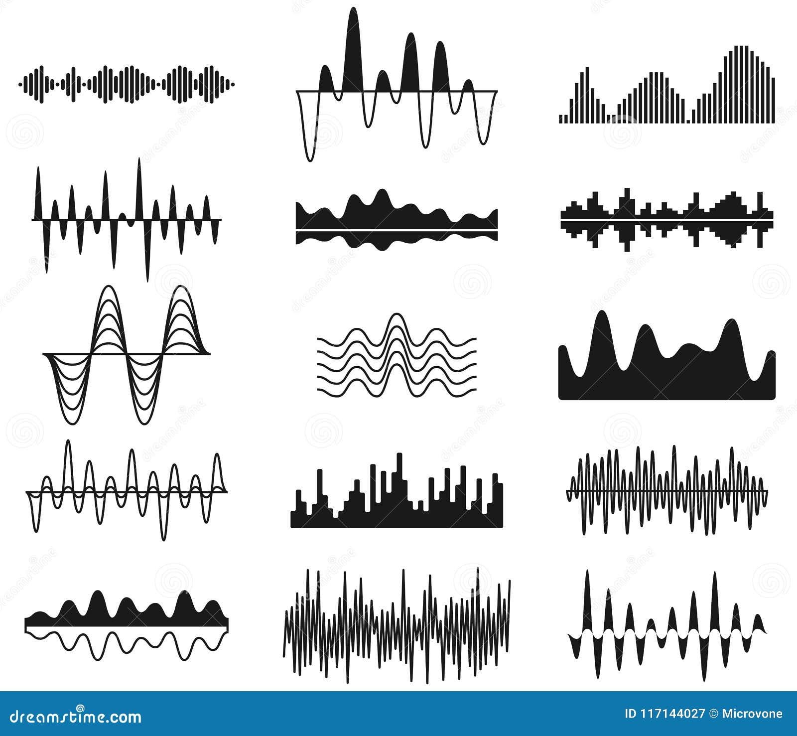Ondas sanas de la frecuencia Símbolos curvados análogo de la señal Formas audios del equalizador de la música de la pista, sistem