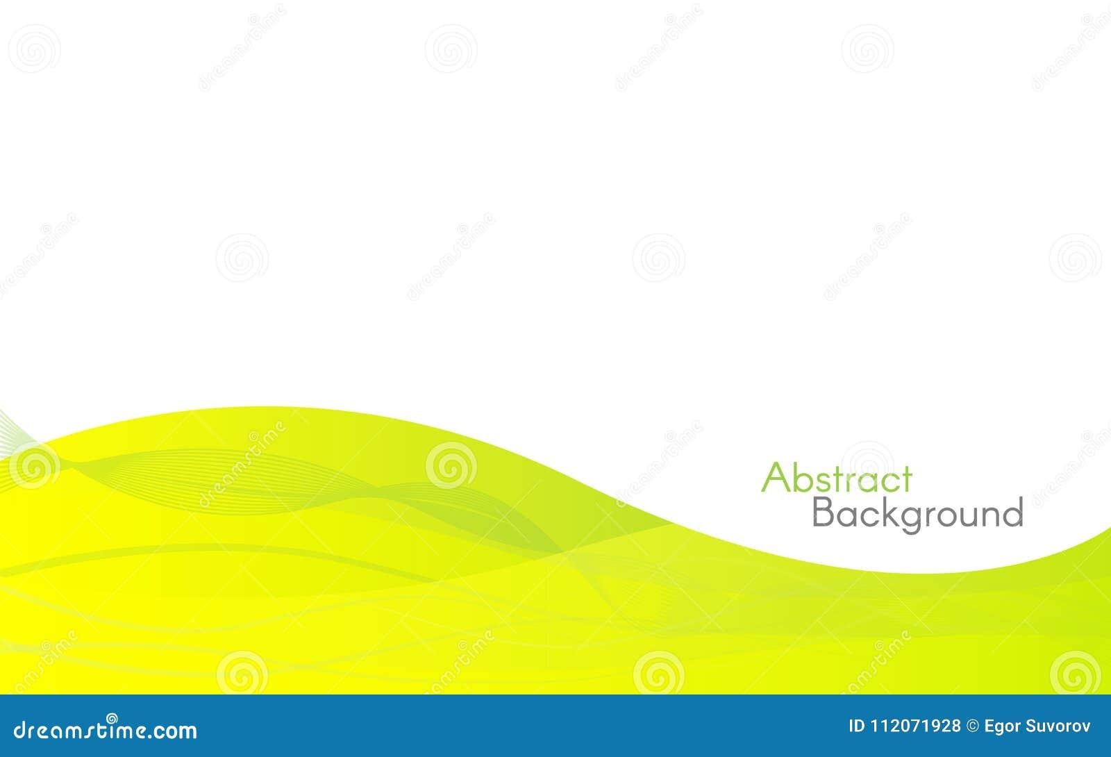 Ondas verdes abstratas no fundo branco Molde do projeto de Minimalistic Linhas amarelas do inclinação Contexto moderno para