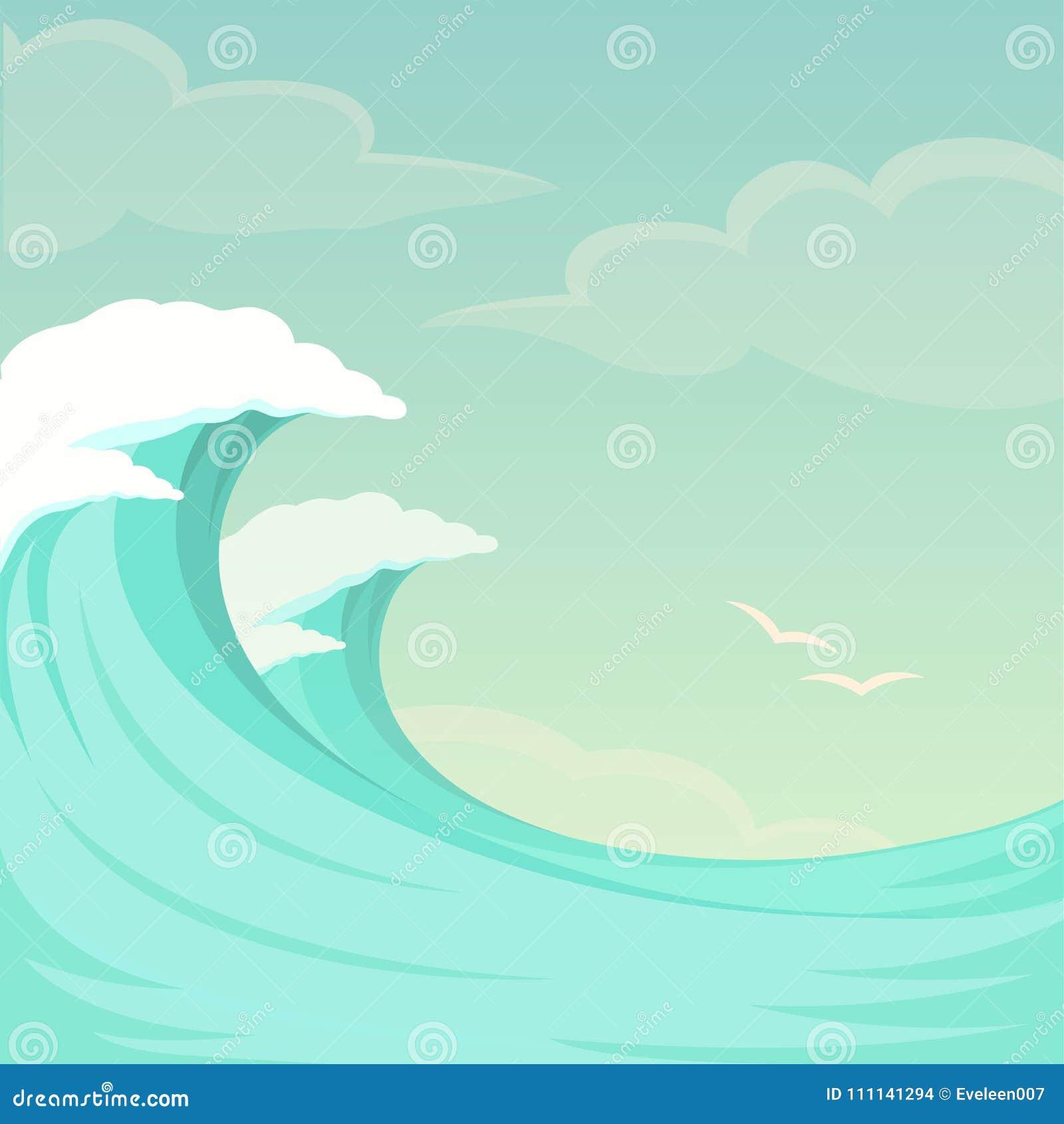 Onde del mare, fondo dell onda di oceano, acqua e cielo di estate