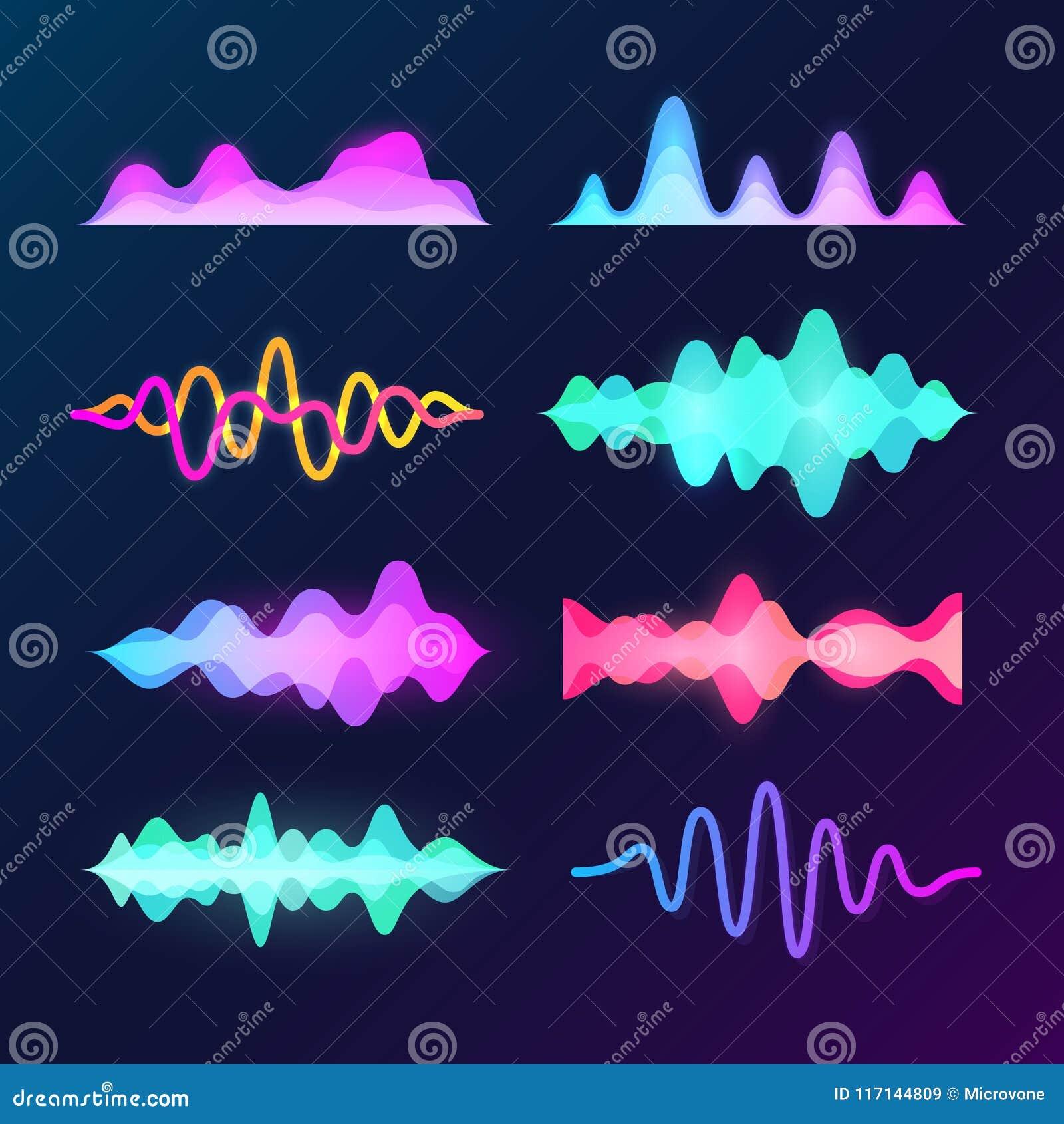 Onde luminose di voce del suono di colore isolate su fondo scuro Forma d onda, impulso di musica ed insieme astratti di vettore d