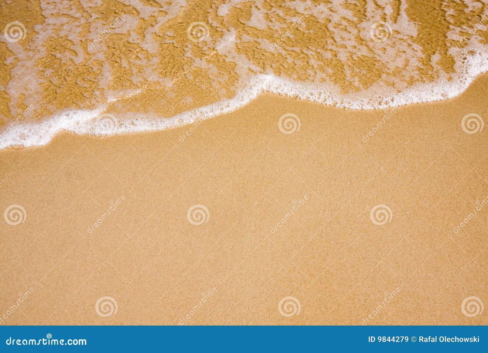 Onde sur la plage claire de sable