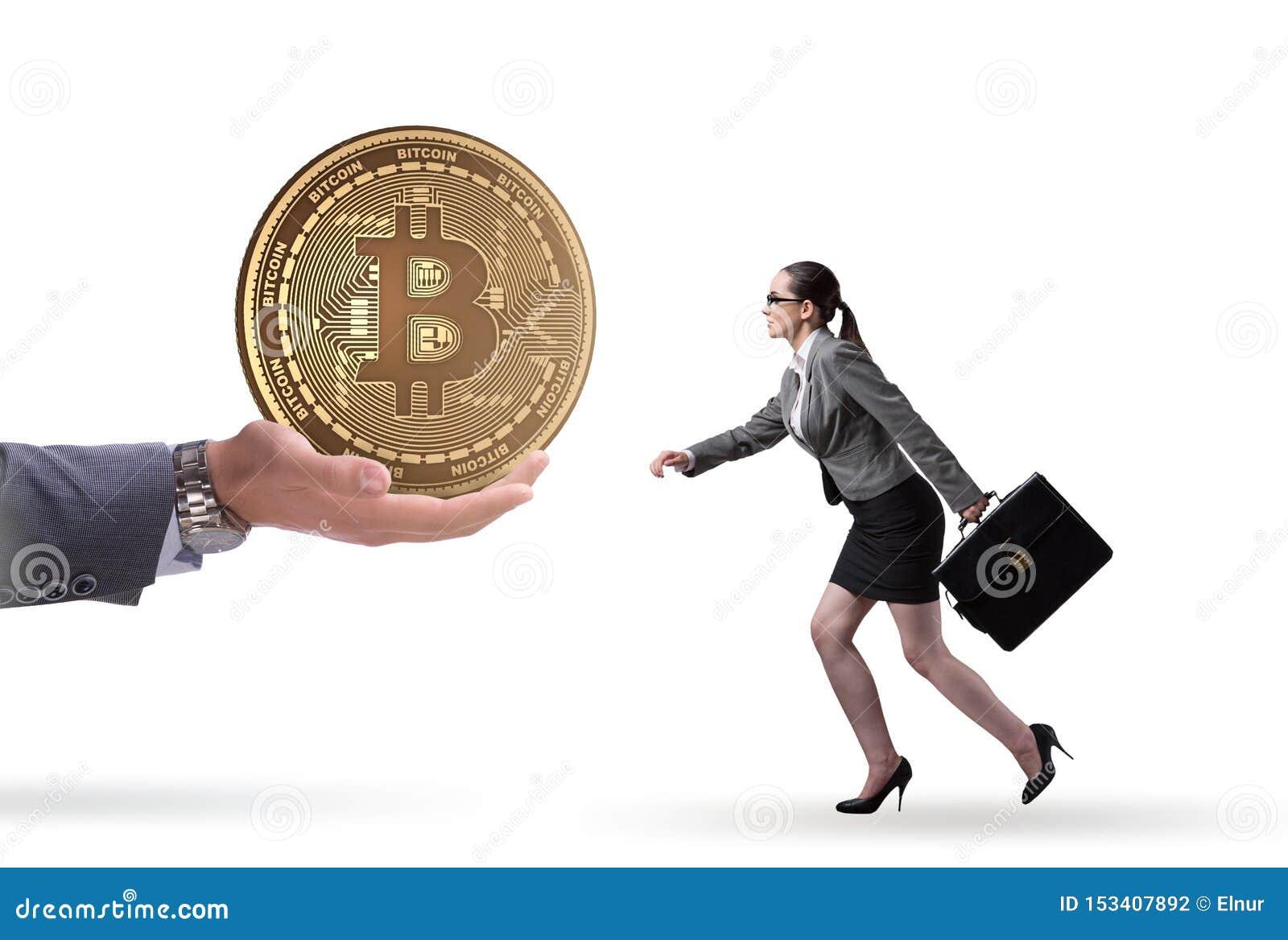 Onderneemster in bitcoinprijsverhoging concept