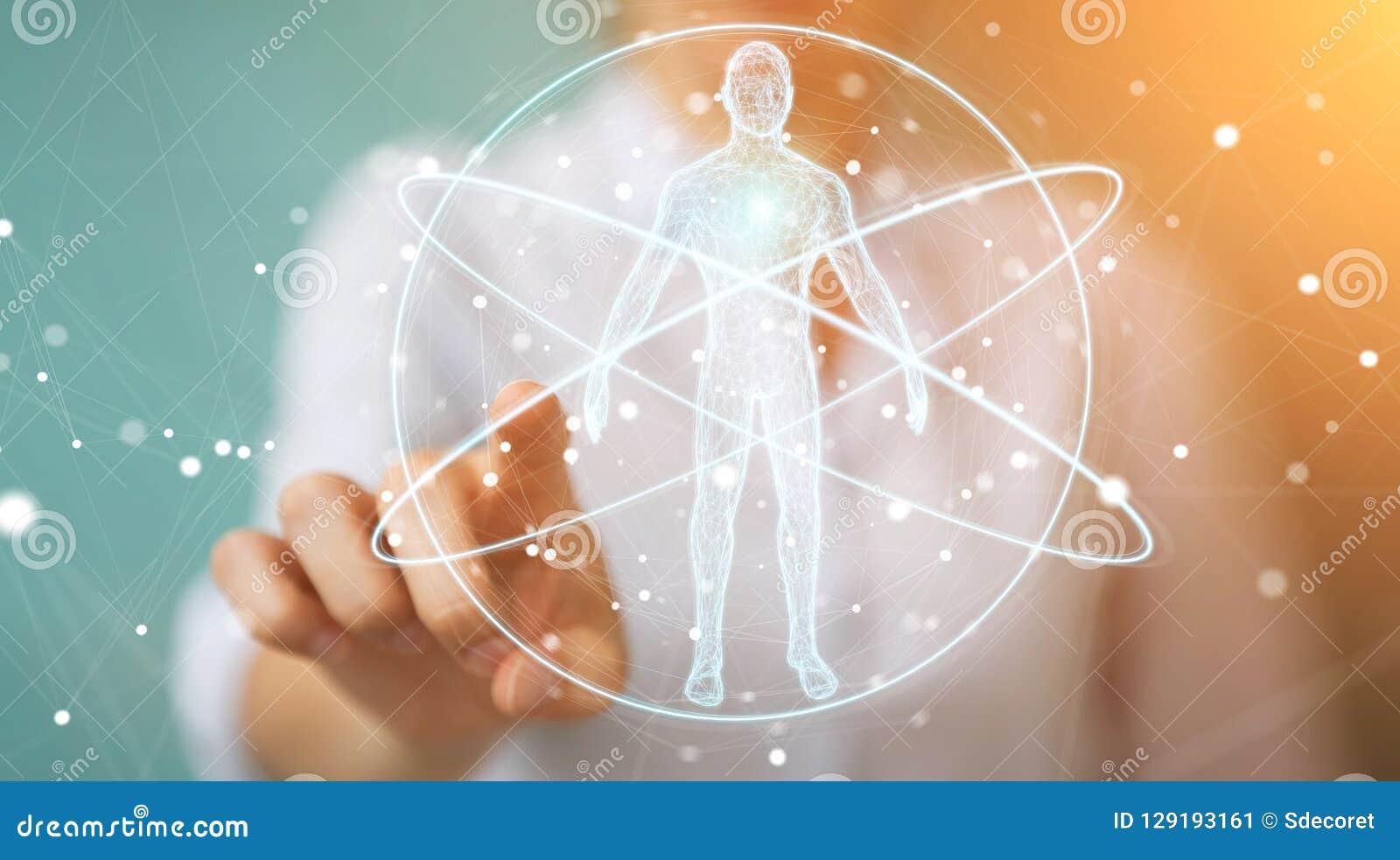 Onderneemster die de digitale x-ray interface 3D r gebruiken van het menselijk lichaamsaftasten