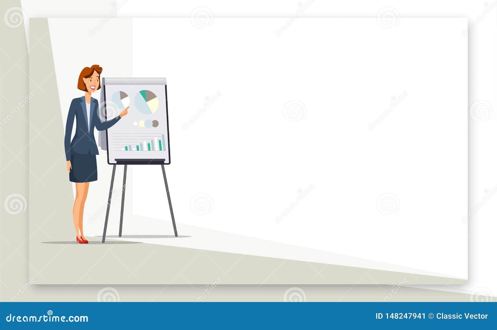 Onderneemster die de kleurenbanner geven van het presentatieweb