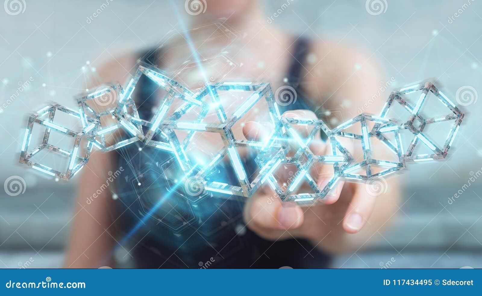 Onderneemster die het digitale blauwe 3D teruggeven van Blockchain gebruiken