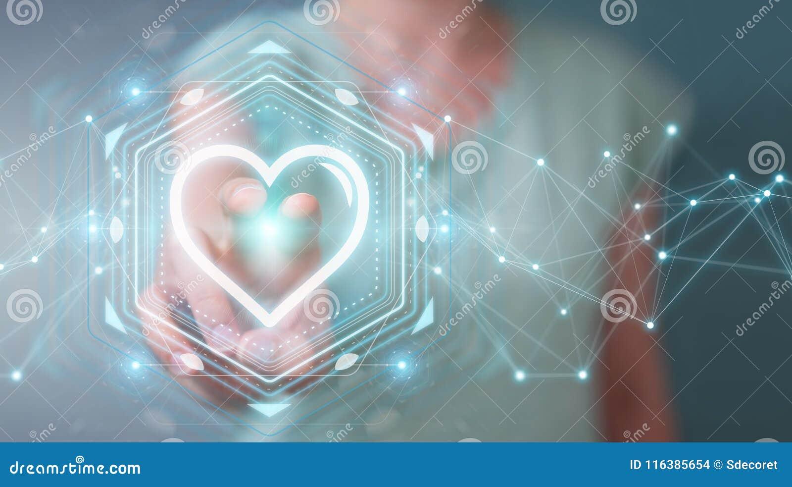 Onderneemster gebruiken die toepassing dateren om liefde online 3D aangaande te vinden