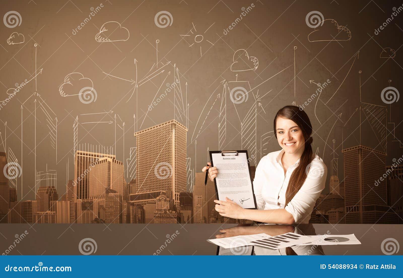 Onderneemster met gebouwen en metingen