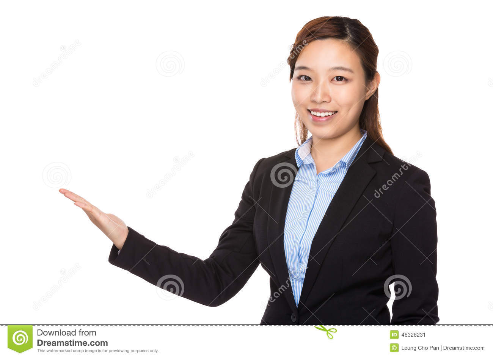 Onderneemster met open handpalm stock foto afbeelding 48328231 - Secretaresse witte ...