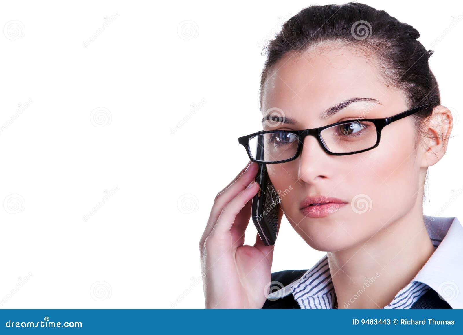 Onderneemster op een mobiele telefoon