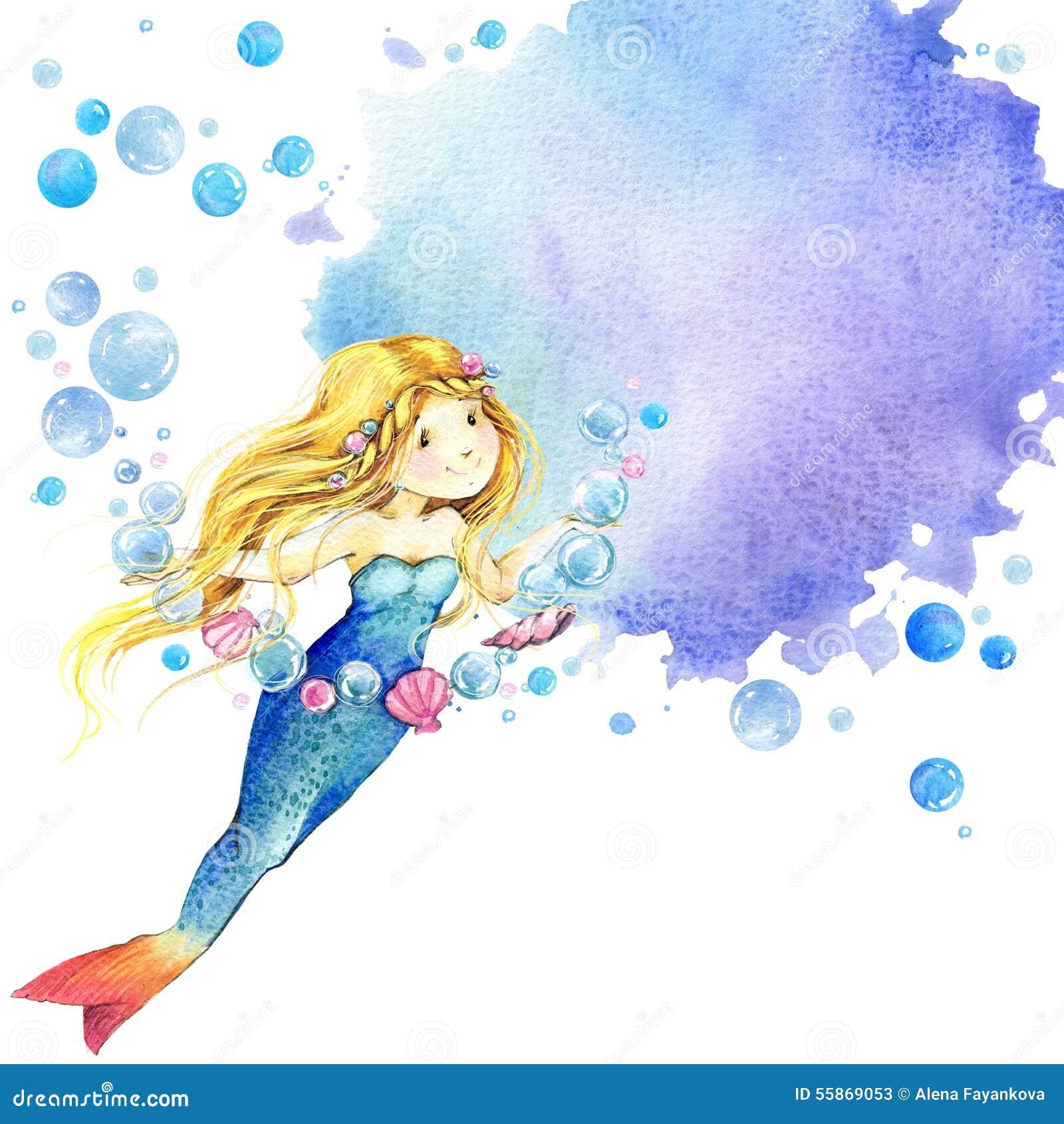 Onderwater wereld De illustratie van de meerminwaterverf voor kinderen