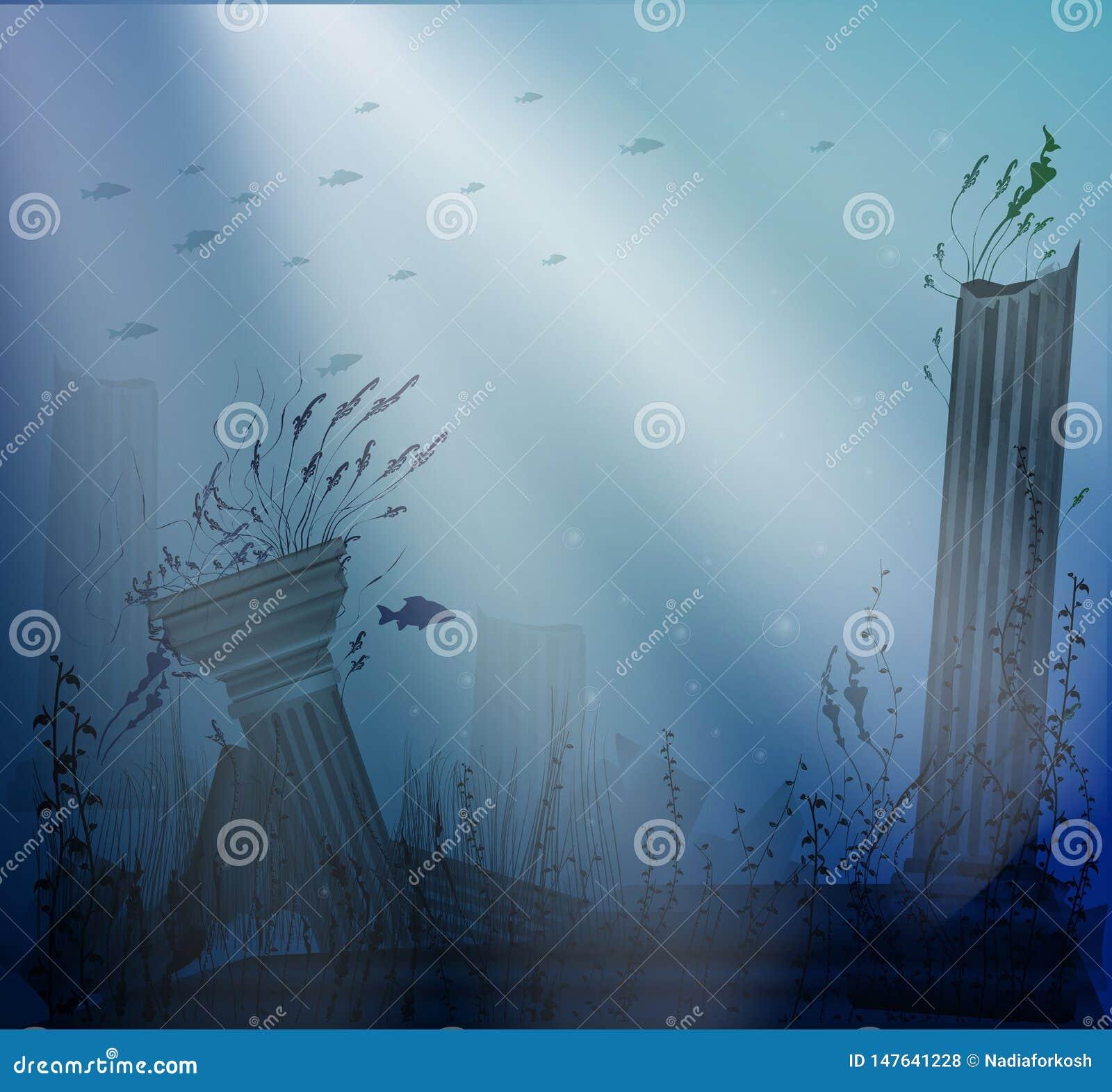 Onderwaterlandschap met oude ruïnes van kolommen met lichtstralen, geheim van Atlantis,