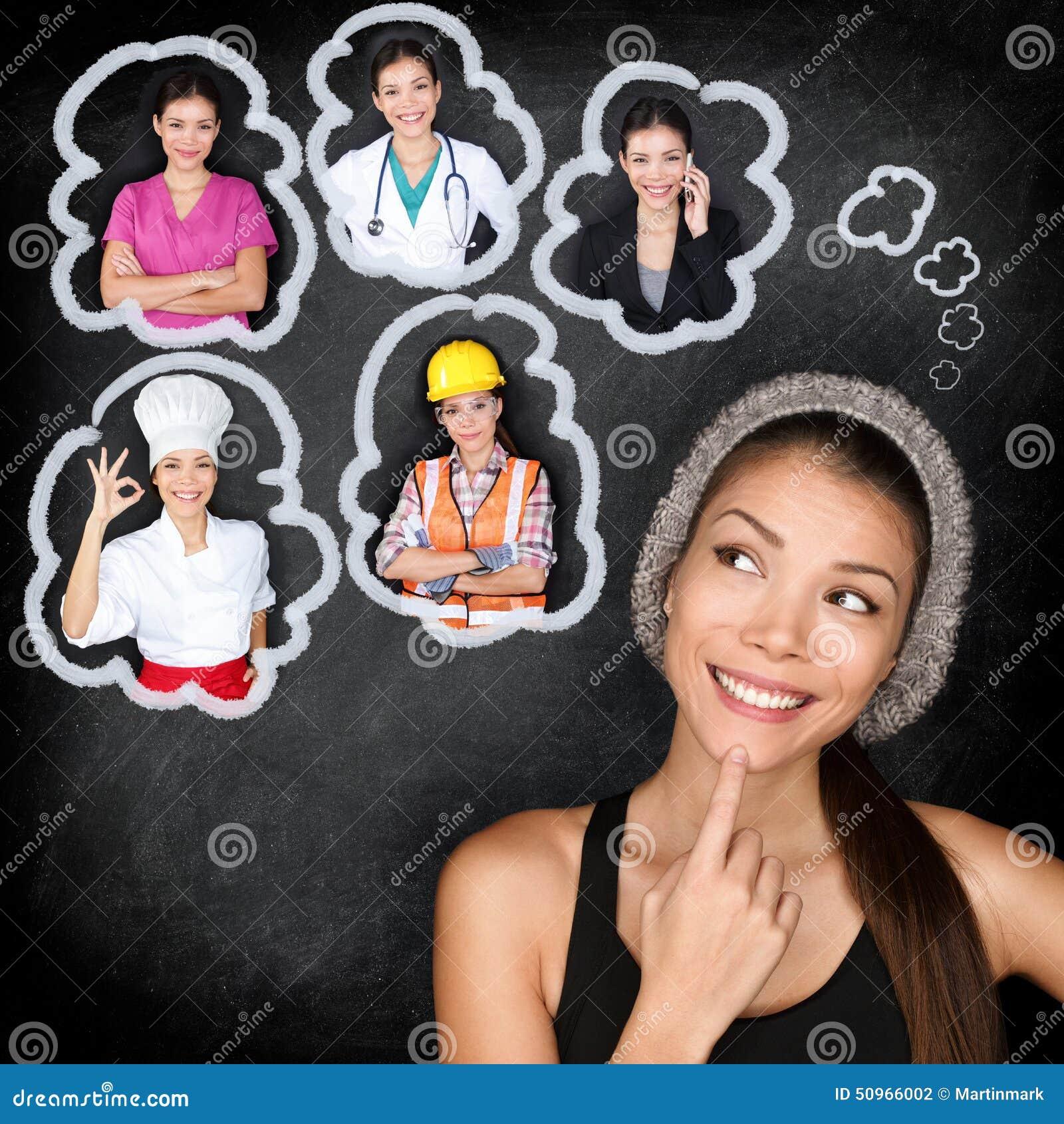 Onderwijs en carrière - student het denken aan toekomst