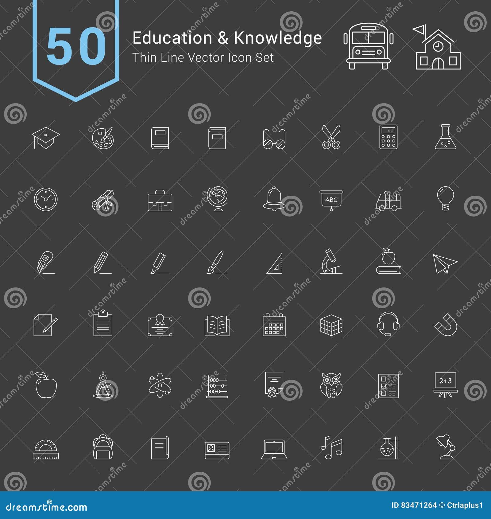 Onderwijs en Kennispictogramreeks 50 dunne Lijn Vectorpictogrammen