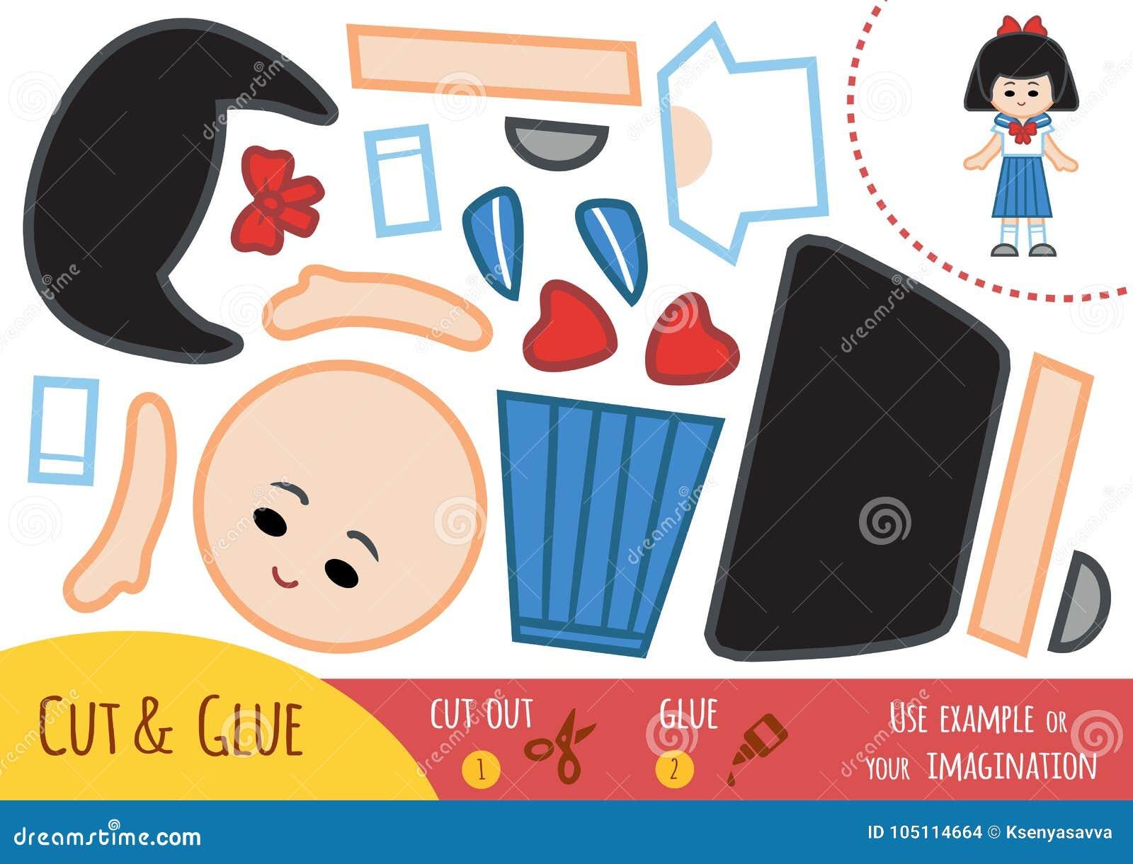 Onderwijsdocument spel voor kinderen, Japans schoolmeisje