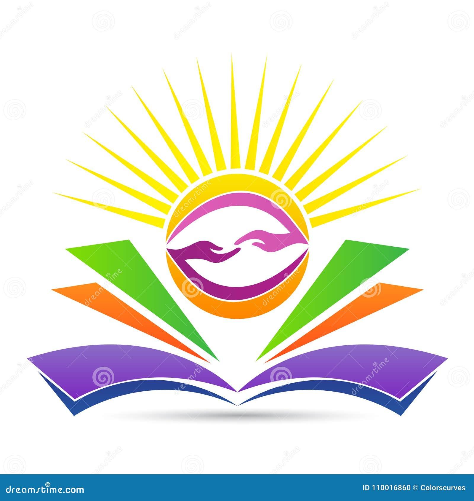 Onderwijsembleem voor heldere vriendschappelijke kennis die embleem delen
