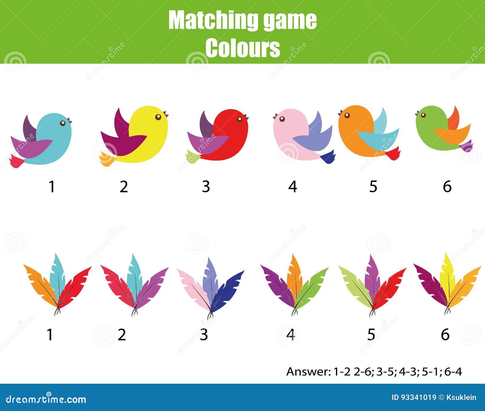 Onderwijskinderenspel Gelijke door kleur Vind paren vogels en veren