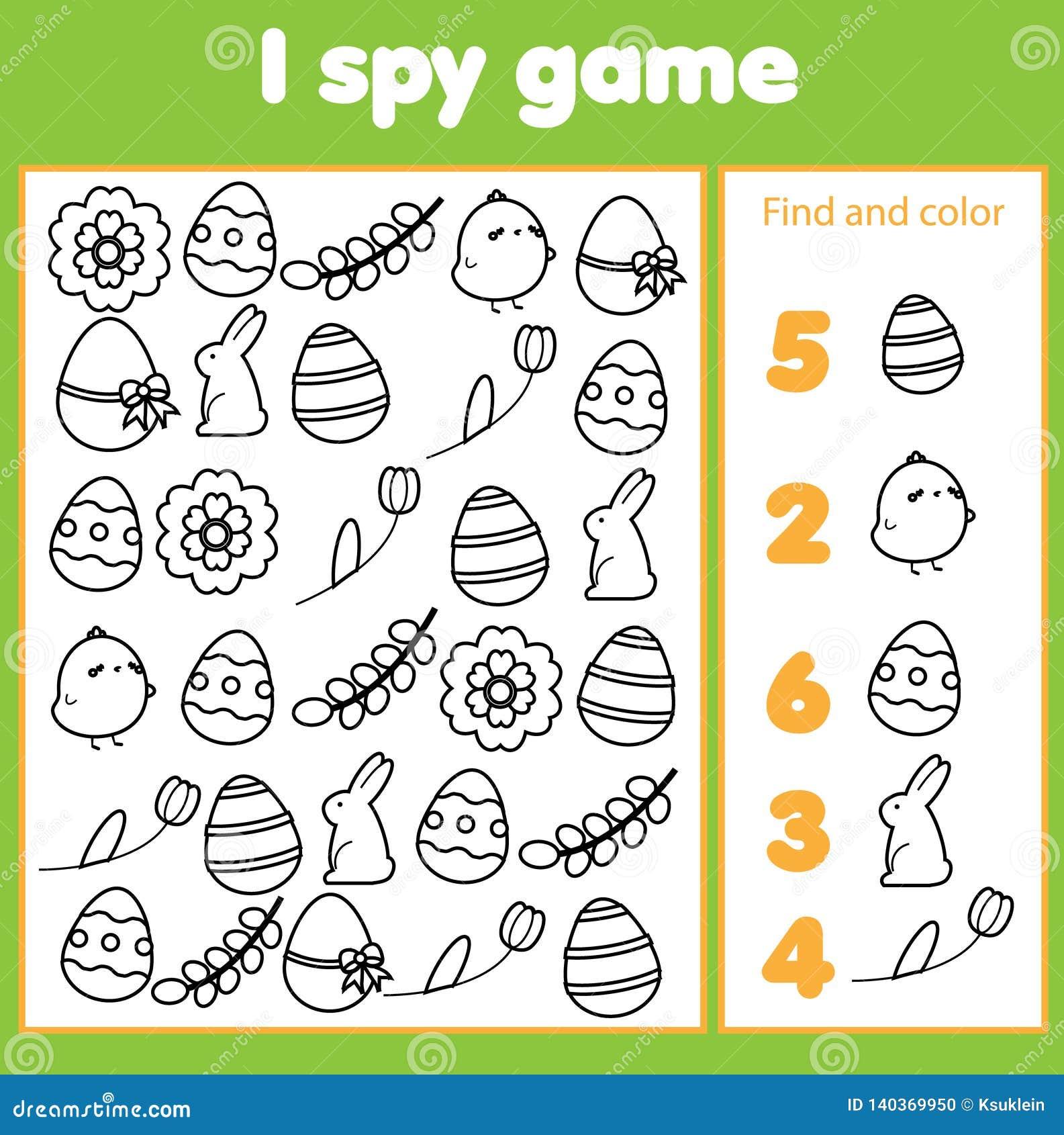Onderwijskinderenspel Ik spioneer blad voor peuters Vind en tel Pasen-pictogrammen Vroeg onderwijs voor jonge geitjes