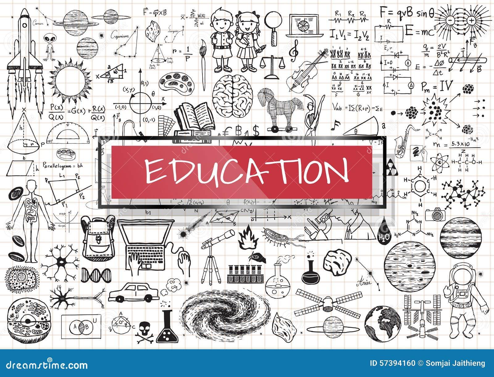 Onderwijskrabbels met 3d rood transparant kader met het woordonderwijs