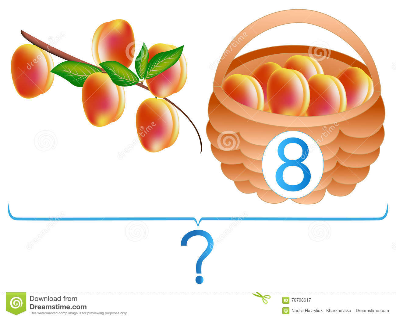 Onderwijsspelen voor kinderen, wiskundige toevoeging, voorbeeld met perziken