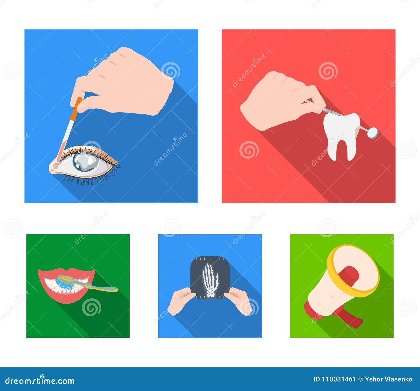 Onderzoek van de tand, indruppeling van het oog en ander Webpictogram in vlakke stijl Een momentopname van de hand, tanden