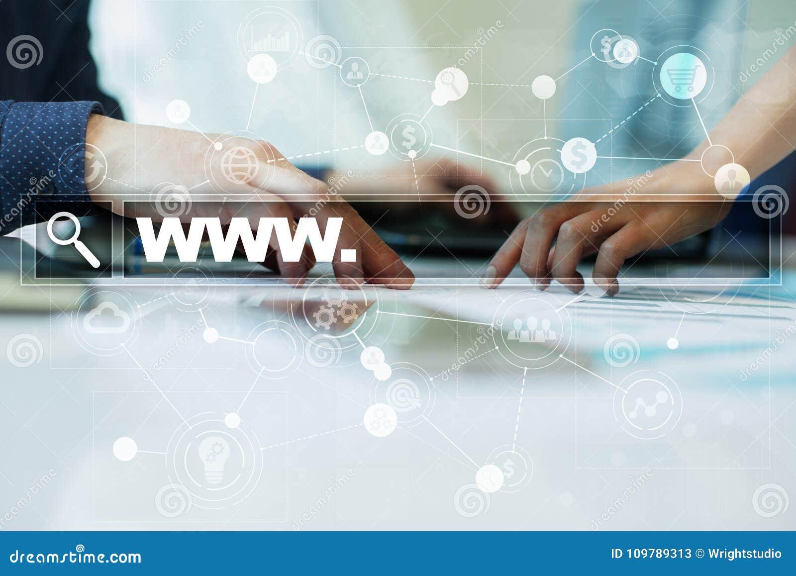 Onderzoeksbar met wwwtekst Website, URL Digitale Marketing Zaken, Internet en technologieconcept