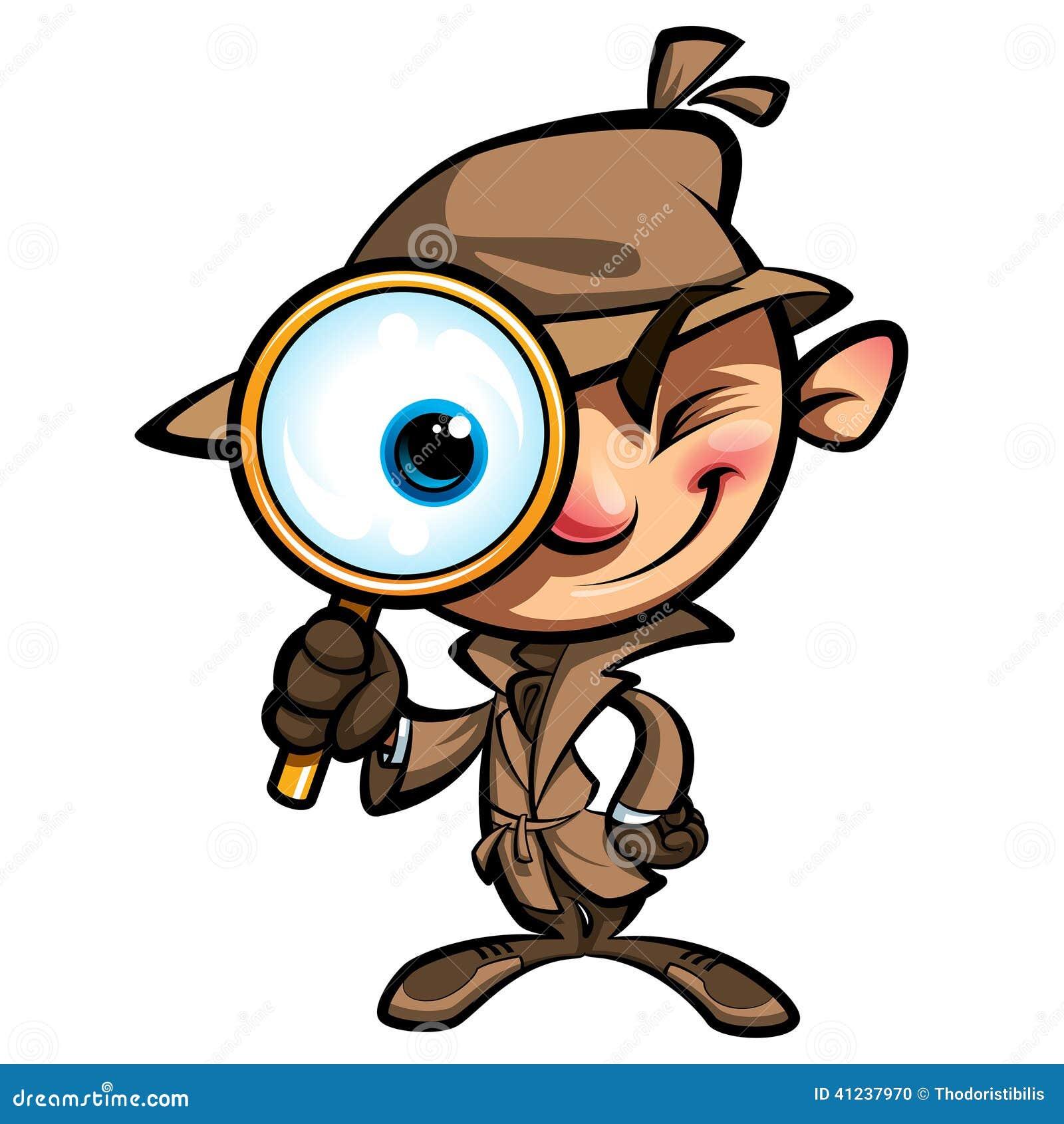 Onderzoekt de beeldverhaal leuke detective met bruin laag en oogglas