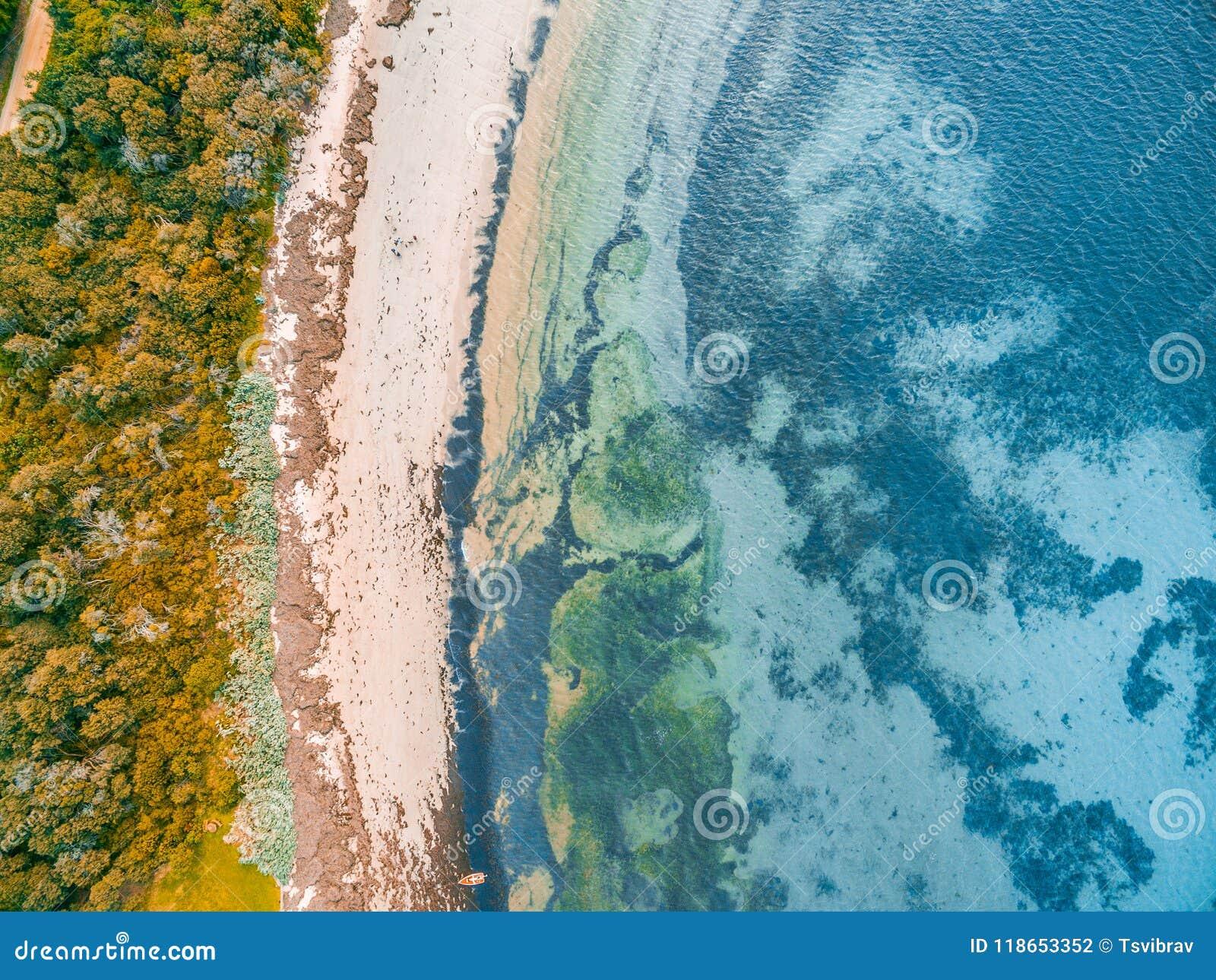 Ondiep oceaanwater en rotsachtig strand