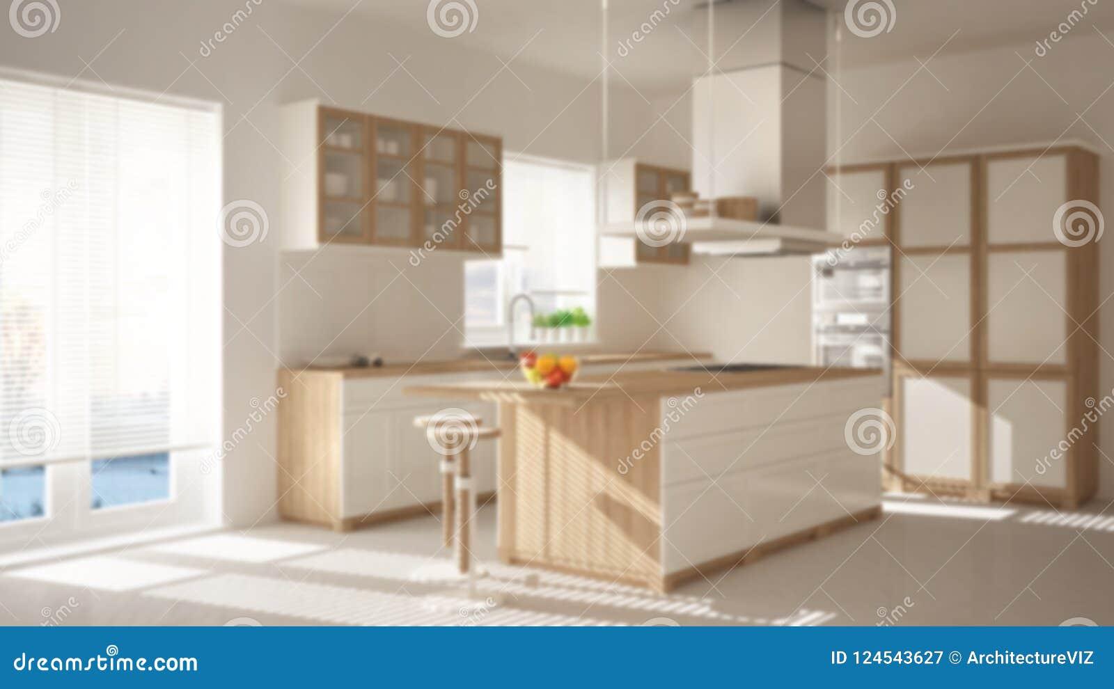 Onduidelijk beeld binnenlands ontwerp als achtergrond, moderne houten en witte keuken met eiland, krukken en vensters, de vloer v
