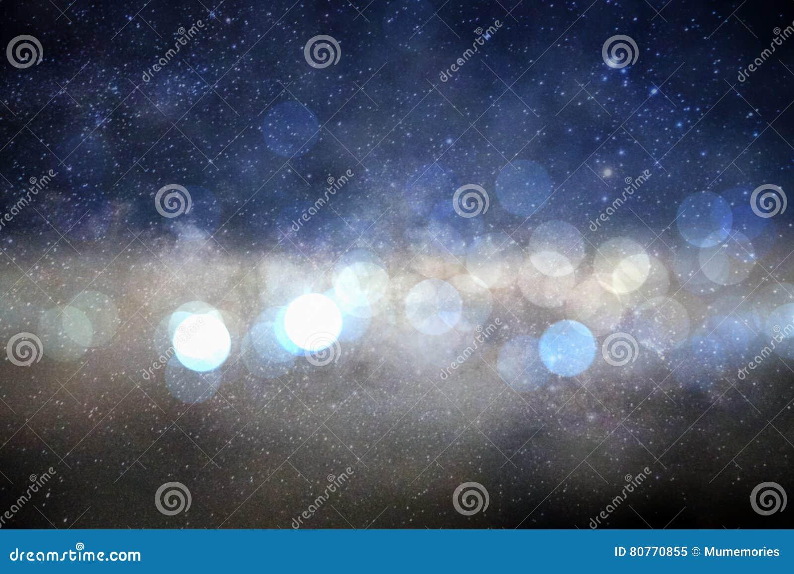 Onduidelijk beeld bokeh cirkel op achtergrond van de melkweg de melkachtige manier