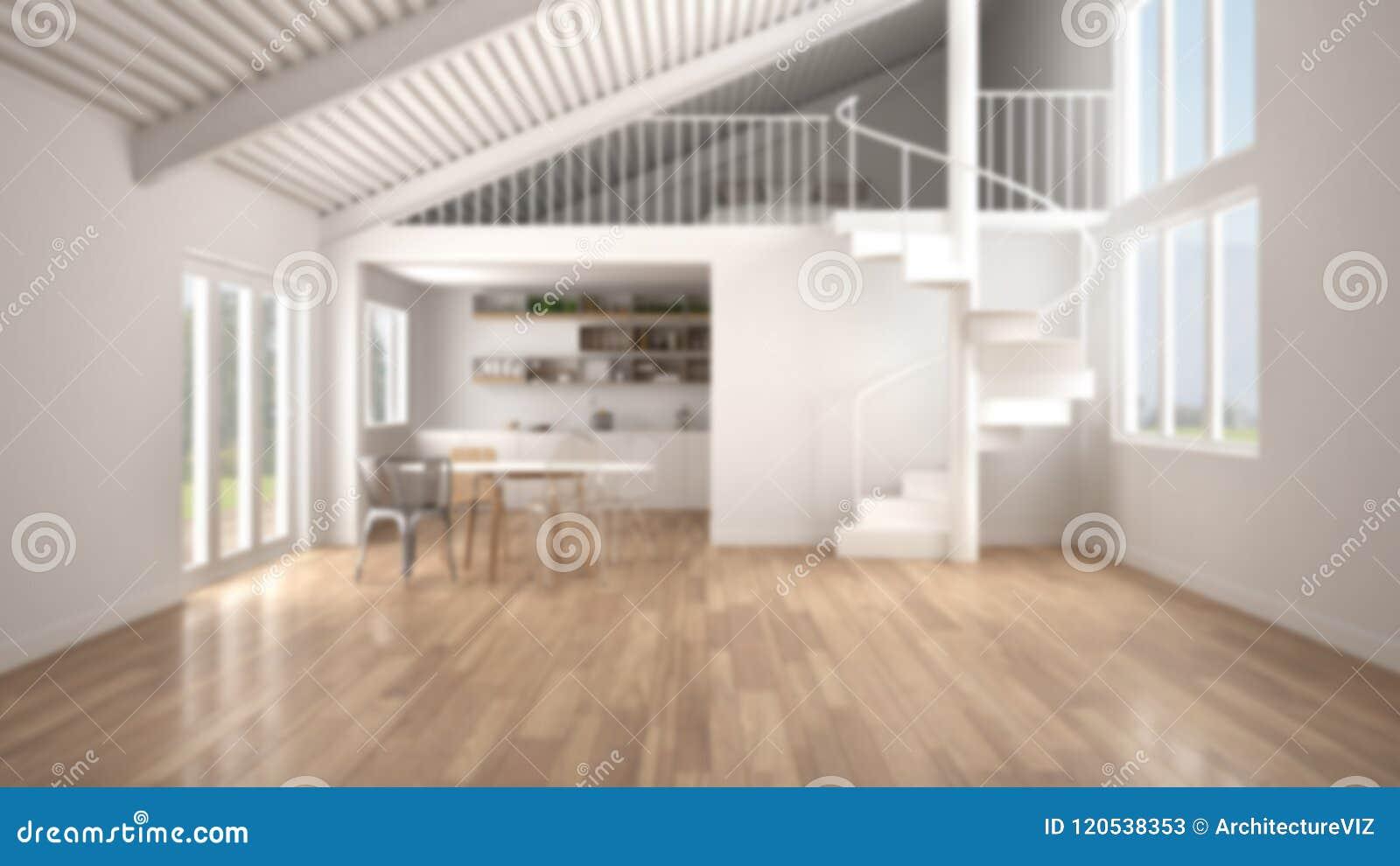 Onduidelijk beeldachtergrond, minimalistische open plek, witte keuken met mezzanine en moderne wenteltrap, zolder met slaapkamer,