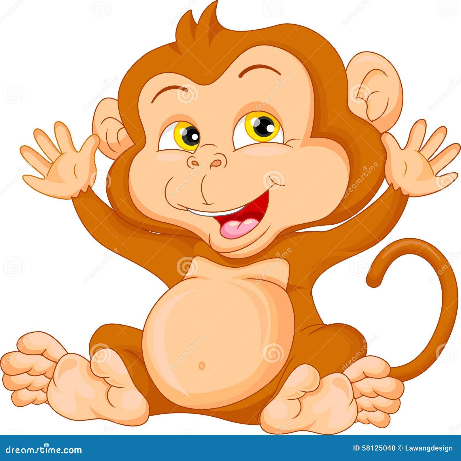 Ondulacao Bonito Dos Desenhos Animados Do Macaco Do Bebe