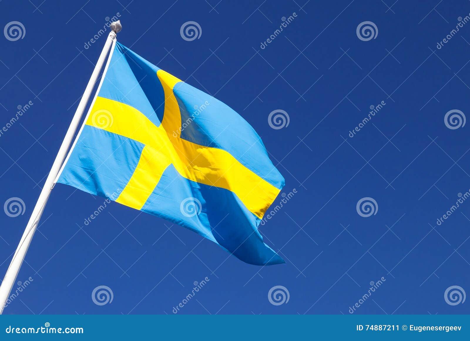 Ondulação na bandeira sueco do vento sobre o céu azul profundo