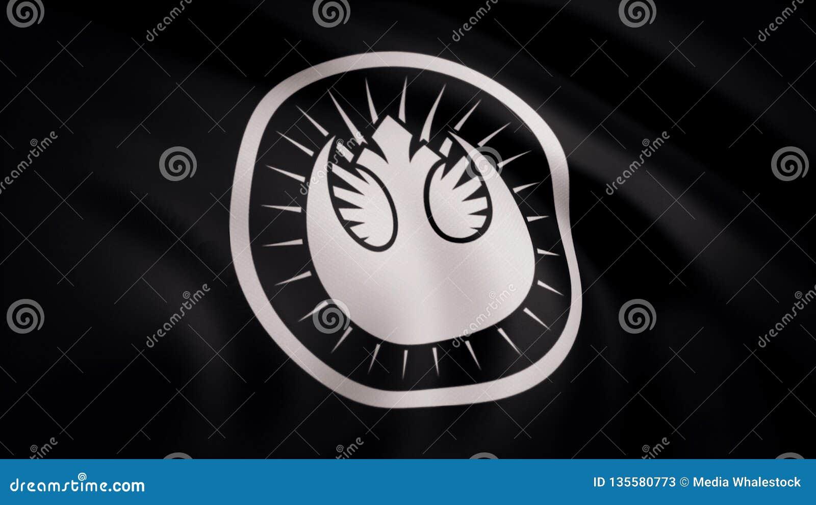 Ondulation dans le drapeau de vent avec le symbole du Star Wars L animation du drapeau du symbole de Star Wars Les Guerres des Ét