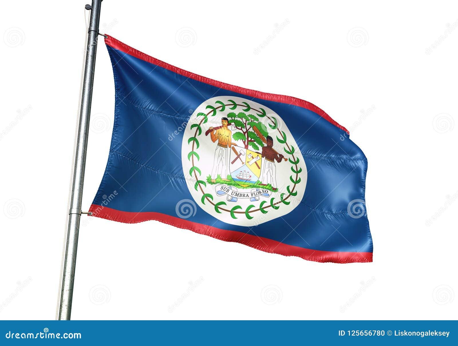 Ondulation de drapeau national de Belize d isolement sur l illustration 3d réaliste de fond blanc