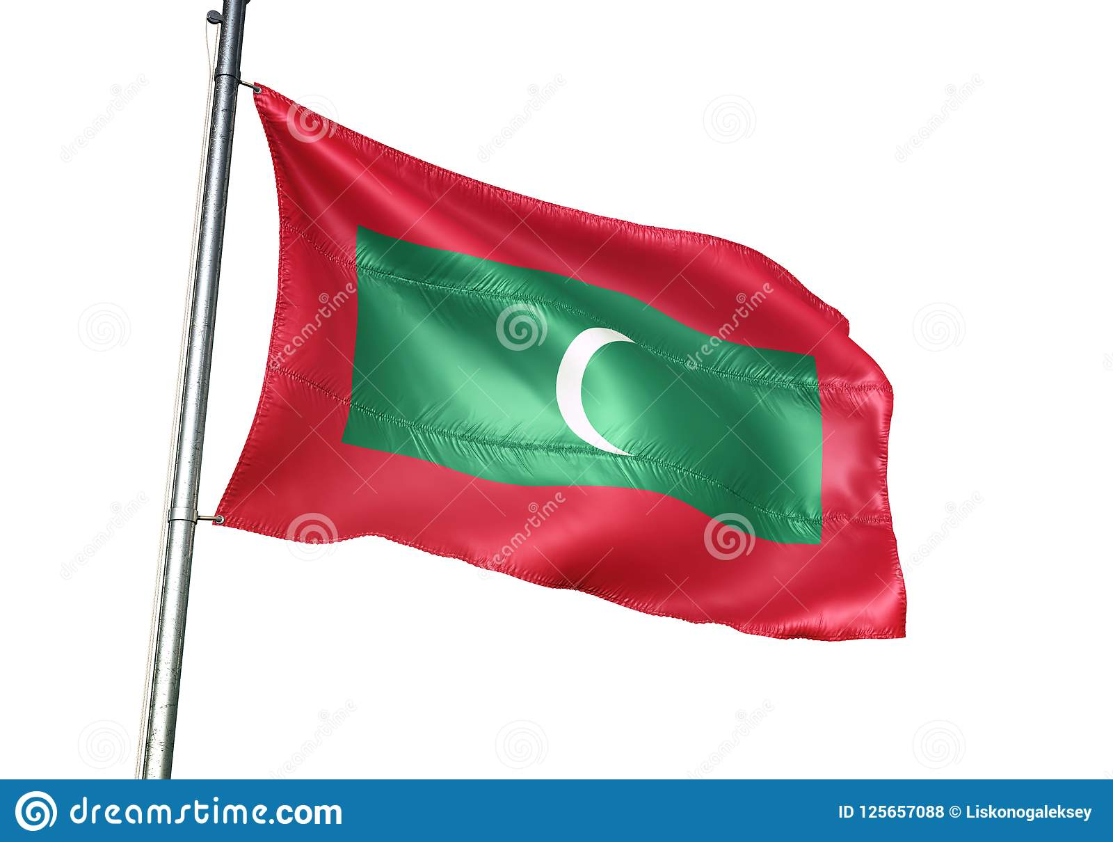 Ondulation de drapeau national des Maldives d isolement sur l illustration 3d réaliste de fond blanc